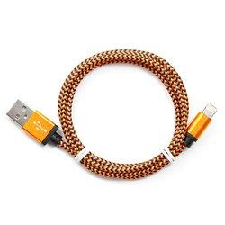 Кабель USB-Lightning для Apple iPhone 5, 5C, 5S, SE, 6, 6 plus, 6S, 6S plus, iPad 4, Air, Air 2, mini 1, mini 2, mini 3, mini 4, PRO 12.9, PRO 9.7 (Gembird/Cablexpert CC-ApUSB2oe1m) (оранжевый) - КабелиUSB-, HDMI-кабели, переходники<br>Кабель c разъемами USB AM-Lightning, тип USB 2.0, нейлоновая оплетка, алюминиевые разъемы, длина 1м.