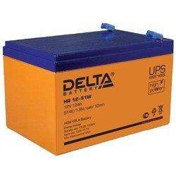 Delta HR 12-51W - Батарея для ибпАккумуляторные батареи<br>Напряжение 12В, емкость 12Ач, высокая энергоотдача, размеры ДхШхВ: 151х98х101 мм.