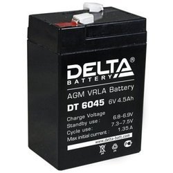 Delta DT 6045 - Батарея для ибпАккумуляторные батареи<br>Аккумуляторная батарея, напряжение 6В, емкость 4.5Ач, размеры ДхШхВ: 70х47х107 мм.