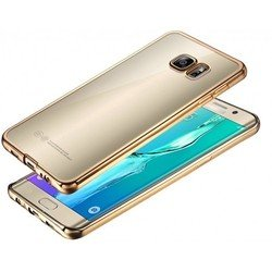 Силиконовый чехол-накладка для Samsung Galaxy S6 Edge (iBox Blaze YT000009709) (золотистая рамка) - Чехол для телефонаЧехлы для мобильных телефонов<br>Чехол плотно облегает корпус и гарантирует надежную защиту от царапин и потертостей.