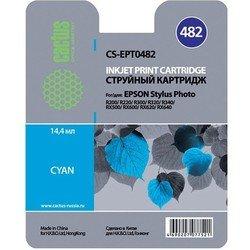 Картридж для Epson Stylus Photo Cactus CS-EPT0482 (голубой) - Картридж для принтера, МФУКартриджи<br>Голубой картридж Cactus CS-EPT0482 для принтеров Epson Stylus Photo R200, R220, R300, R320, R340, RX500, RX600, RX620, RX640 имеет емкость 14.4 мл.