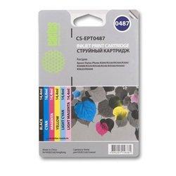 Комплект картриджей для Epson Stylus Photo R200, R220, R300, R320, R340, RX500, RX600, RX620, RX640 (Cactus CS-EPT0487) (6 цветов) - Картридж для принтера, МФУ