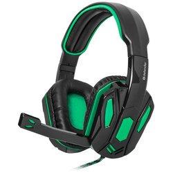 Defender Warhead G-275 (зеленый, черный) - Компьютерная гарнитураКомпьютерные гарнитуры<br>Defender Warhead G-275 - проводная гарнитура, игровая, закрытая, 2 x mini jack 3.5 mm, наушники накладные полноразмерные, частотный диапазон: наушники 20–20000 Гц, микрофон 20–16000 Гц, импеданс: наушники 32 Ом, микрофон 2200 Ом, чувствительность: наушники 110 дБ, микрофон 54 дБ.