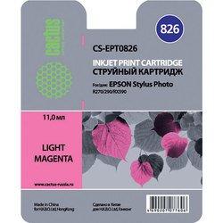 Картридж для Epson Stylus Photo R270, 290, RX590 Cactus CS-EPT0826 (светло-пурпурный) - Картридж для принтера, МФУКартриджи<br>Светло-пурпурный картридж Cactus CS-EPT0826 для принтеров Epson Stylus Photo R270, 290, RX590 позволит распечатать до 460 страниц.