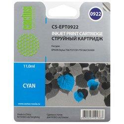 Картридж для Epson Stylus C91, CX4300, T26, T27, TX106, TX109, TX117, TX119 (Cactus CS-EPT0922) (голубой) - Картридж для принтера, МФУКартриджи<br>Совместим с моделями: Epson Stylus C91, CX4300, T26, T27, TX106, TX109, TX117, TX119