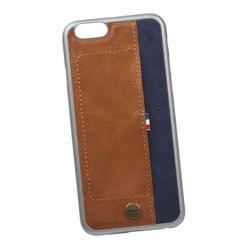 Чехол-накладка для Apple iPhone 6, 6S (WUW 0L-00029293) (коричневый, синий)  - Чехол для телефонаЧехлы для мобильных телефонов<br>Чехол-накладка плотно облегает заднюю крышку телефона и гарантирует ее надежную защиту от пыли, царапин, потертостей и других вешних воздействий. Дополнительно оснащен внешним карманом для карточек.