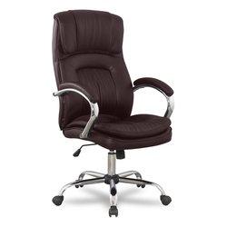 Кресло руководителя College BX-3001-1 (коричневый) - Стул офисный, компьютерныйКомпьютерные кресла<br>College BX-3001-1 - компьютерное кресло, кожа с полиуретановым покрытием, максимальный вес 120 кг, подлокотники хромированные с кожаными накладками, крестовина металлическая хромированная, механизм качания Топ-ган, регулировка высоты (газлифт).
