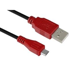 Дата-кабель USB AM-microUSB 5pin 3m (Greenconnect GCR-UA6MCB1-BB2S-3.0m) (красный, черный) - КабелиUSB-, HDMI-кабели, переходники<br>Кабель позволит подключать мобильные телефоны, смартфоны, планшеты и другие USB устройства с разъемом micro USB к ПК, ноутбук, Macbook. Бескислородная медь, 28/28 AWG, USB 2.0, экран, армированный, морозостойкий.