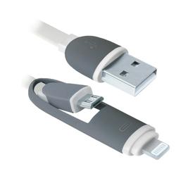Кабель USB - microUSB, Lightning (Defender USB10-03BP) (белый) - КабелиUSB-, HDMI-кабели, переходники<br>Кабель для зарядки и синхронизации портативных устройств, разъемы USB - microUSB с переходником на Lightning, тип USB 2.0, длина 1м.