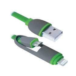 Кабель USB - microUSB, Lightning (Defender USB10-03BP) (зеленый) - КабелиUSB-, HDMI-кабели, переходники<br>Кабель для зарядки и синхронизации портативных устройств, разъемы USB - microUSB с переходником на Lightning, тип USB 2.0, длина 1м.