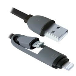 Кабель USB - microUSB, Lightning (Defender USB10-03BP) (черный) - КабелиUSB-, HDMI-кабели, переходники<br>Кабель для зарядки и синхронизации портативных устройств, разъемы USB - microUSB с переходником на Lightning, тип USB 2.0, длина 1м.