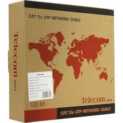 Витая пара FTP 4 пары кат.5е (Telecom TFS44150E) (бухта 100м) - КабельСетевые аксессуары<br>Витая пара с общим экраном из фольги (FTP), категория 5e, для прокладки в помещениях, оболочка ПВХ (PVC), 100м.