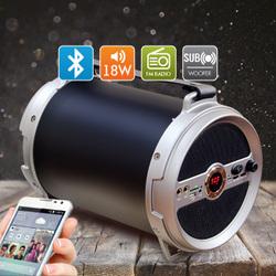 Ginzzu GM-885B - Колонка для телефона и планшетаПортативная акустика<br>Bluetooth колонка с FМ-радио и караоке, два микрофонных входа 6.5 mm, регулировка громкости и эхо для микрофонов, сабвуфер и LED дисплей, аудио-плеер - SD, USB-flash, AUX-in, аккумулятор 3000 mAh, поддержка форматов аудио файлов - MP3, WAV.