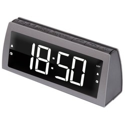 Ritmix RRC-1850 (серый) - РадиоприемникРадиоприемники<br>Радиоприёмник, USB-разъем для зарядки мобильных устройств (5 В, 1 А), два будильника, функция повтора сигнала будильника. Питание от сети (батарейки служат только для сохранения настроек времени и будильника).