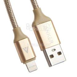 Дата кабель Lightning - USB для Apple iPhone 5, 5S, SE, 5C, 6, 6 Plus, 6S, 6S Plus, 7, 7 Plus, 8, 8 Plus, X, 4, Air, Air 2, mini, mini 2, mini 3, mini 4, ipad 2017, pro 9.7, pro 12.9, pro 10.5 (Anker 0L-00030229) (золотистый) - КабелиUSB-, HDMI-кабели, переходники<br>Предназначен для передачи данных между компьютером и мобильными устройствами с разъёмом 8 pin.