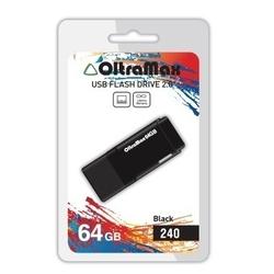 OltraMax 240 64GB (черный) - USB Flash driveUSB Flash drive<br>OltraMax 240 64GB - флеш-накопитель, объем 64Гб, USB 2.0, 15Мб/с, пластик.
