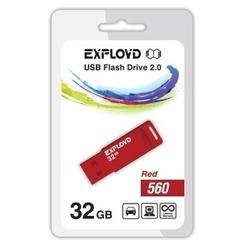Exployd 560 32GB (красный) - USB Flash driveUSB Flash drive<br>Exployd 560 32GB - флеш-накопитель, объем 32Гб, USB 2.0, 15Мб/с.