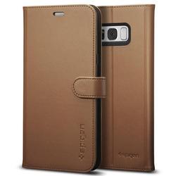 Чехол книжка для Samsung Galaxy S8 Plus (Spigen Wallet S Case 571CS21688) (коричневый) - Чехол для телефонаЧехлы для мобильных телефонов<br>Защитит смартфон во время падений, а также от грязи, пыли и других внешних воздействий.