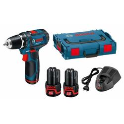 Bosch GSR 12-2-LI 2.0Ah x2 L-BOXX (0601868109) (в комплекте с аккумуляторами 12В)  - ШуруповертДрели, шуруповерты, гайковерты<br>Безударная дрель-шуруповерт, быстрозажимной патрон, диаметр патрона: 1 - 10 мм, питание от аккумулятора, тормоз двигателя, вес: 0.95 кг